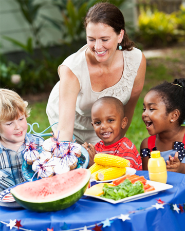Woman hosting Memorial Day party