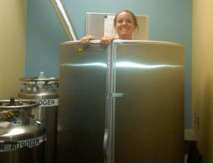 woman in cryotherapy machine