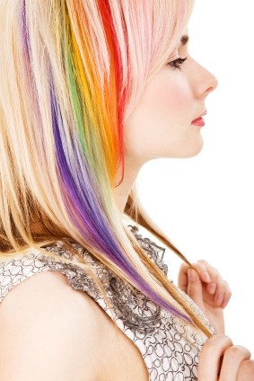 woman with rainbow hair