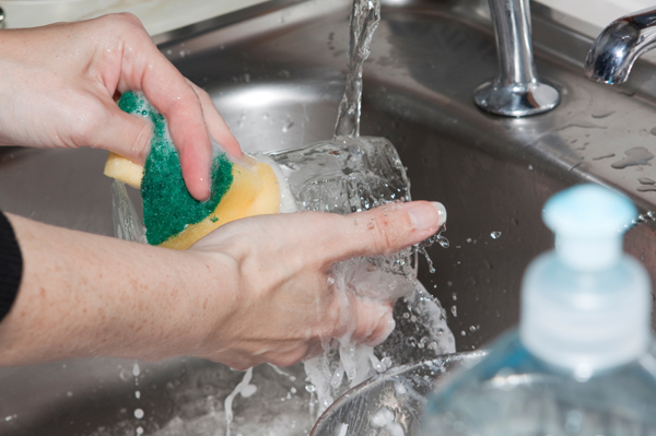 how to clean dishes without water
