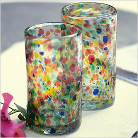 Carnival confetti-colored recycled glass drinking glasses