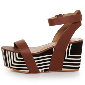 Matiko Lyon Brown with Black and White Print Flatform Sandals, $173.00 at lulus.com