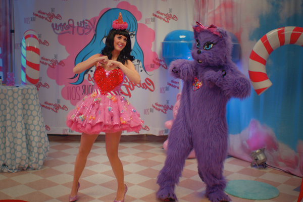 Katy Perry dancing with a purple bear