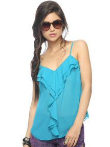 blue ruffled tank