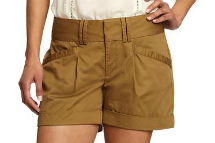 pleated sateen shorts