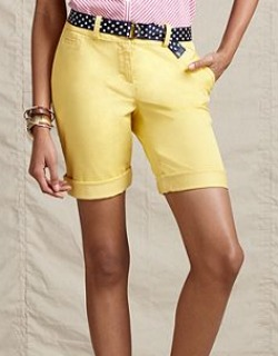 yellow bermuda shorts