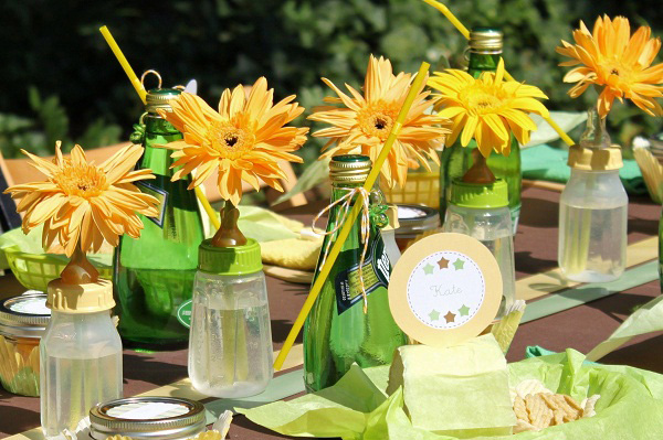 Baby shower decor -- Baby bottles