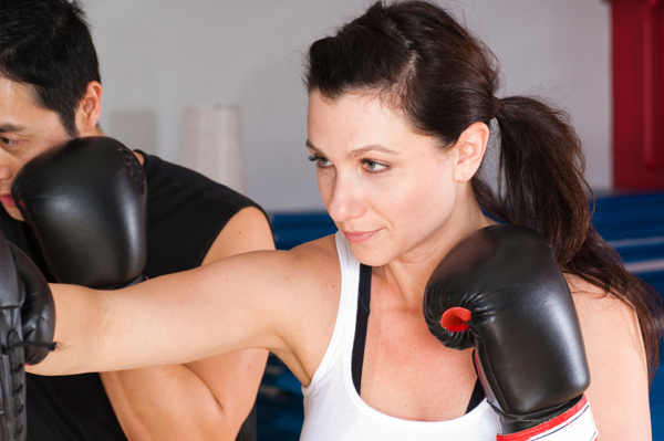 Self-defense boxing class