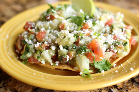 Ceviche tostadas with toasted coconut