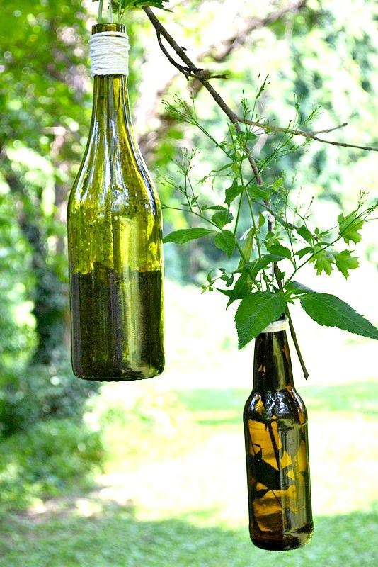 Diy wine beer bottle plant holder 7