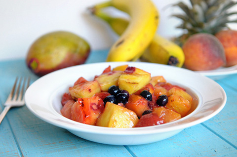 curry marinated grilled fruit salad