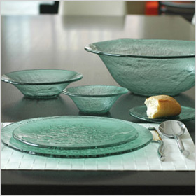 recycled glass plates and bowls