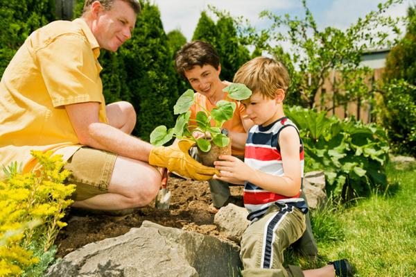 family working in garden