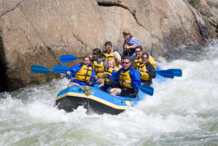 White water rafting family