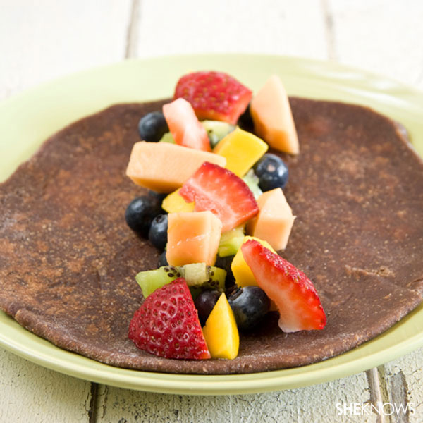 A morning fiesta with healthy fruit tacos
