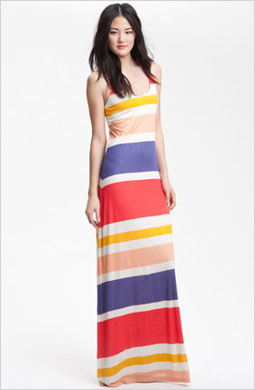 brightly striped racer back maxi dress