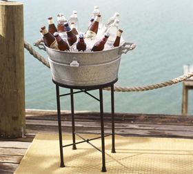 Galvanized Metal Party Bucket and Stand
