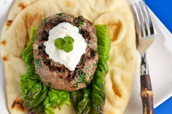 Greek-style spinach and feta burgers