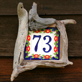 Driftwood number sign