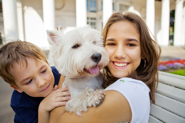 Kids and pet dog