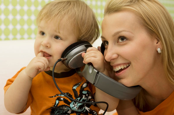 mom and baby listening to music