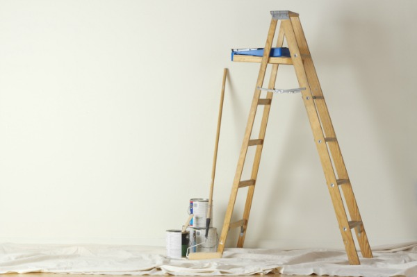 paint setup with ladder