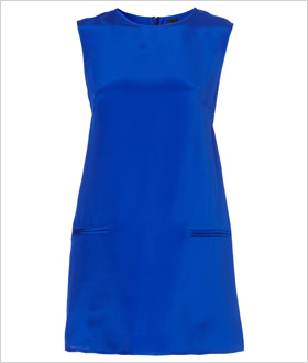 bold, blue silk shift dress