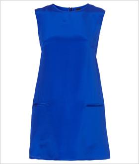 bold, blue silk shift dress