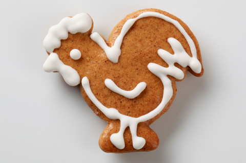 Rooster shaped cookie