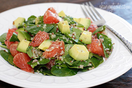 spinach and quinoa salad with grapefruit