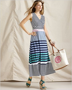 s sleeveless, striped V-neck maxi