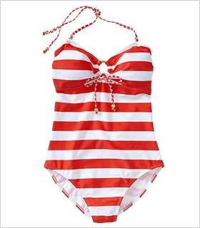 Old Navy Striped Bandeau swimsuit, $30, oldnavy.com.