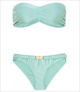 Reiss Metal Trim Bandeau bikini, $95, reissonline.com.