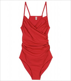 Lanvin Ruched One-Piece swimsuit, $795, mytheresa.com.