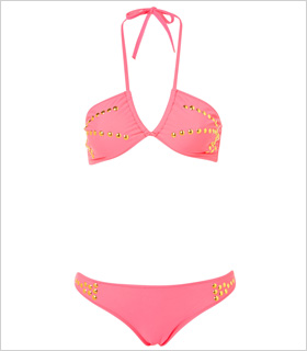 Topshop Pink Stud Bandeau bikini, $56, us.topshop.com