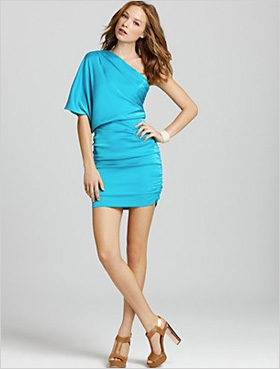 , bright blue party dress by Aqua
