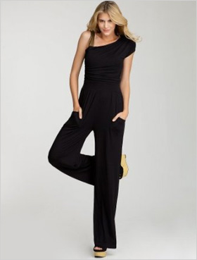 bebe Sequin Shoulder Jumpsuit, $119, bebe.com).
