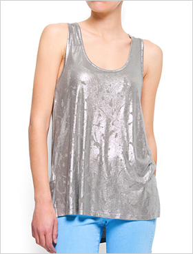 metallic t-shirt by Mango