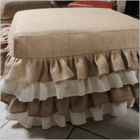 Burlap Ottoman Cover by Paula and Erika