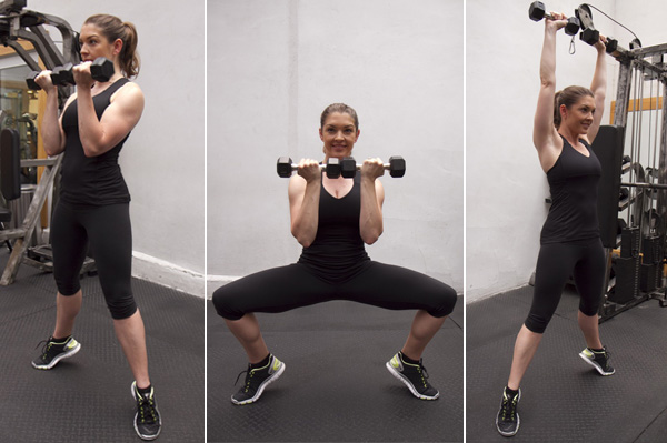Isometric calf raise with sumo squat press