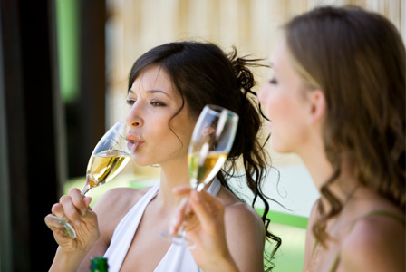 Woman drinking sparklin wine