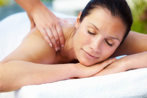 Woman having a massage in spa