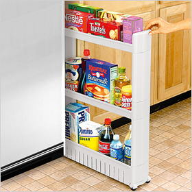 Slim slide-out pantry