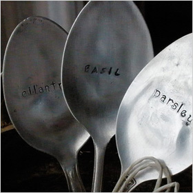 hand stamped vintage teaspoon plant markers