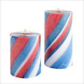 Red, White and Blue striped candles