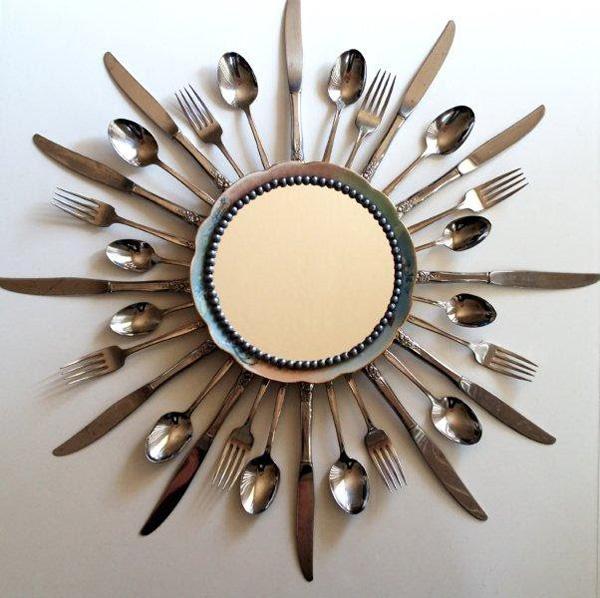 Silver flatware sunburst mirror
