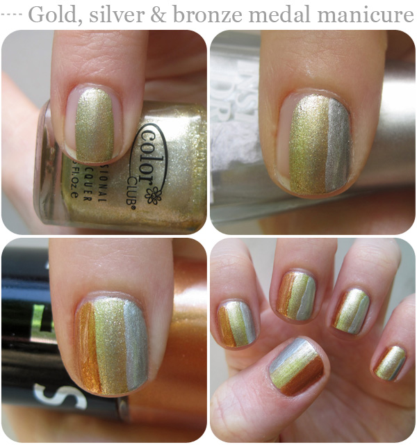 Nail art designs: Gold, silver and bronze medal manicure