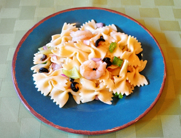 Add shrimp to pasta for easy summer salad