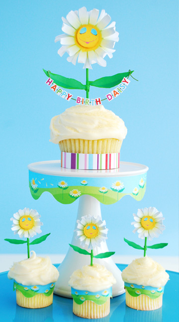 Birth-Daisy cupcake craft