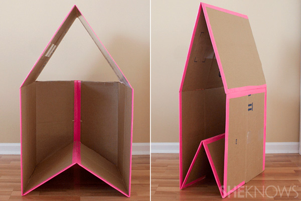 DIY collapsible cardboard playhouse by She Knows Parenting